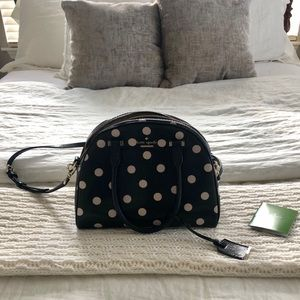 Kate Spade Black/White Cabana Dot Dome Satchel